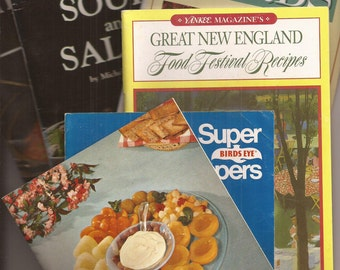 Instant Collection of Kitschy Fun Cookbooks, Booklets, Pamphlets, Vintage, Paper Ephemera, Yankee Magazine, Herbs, Soups, Wylers, Birdseye