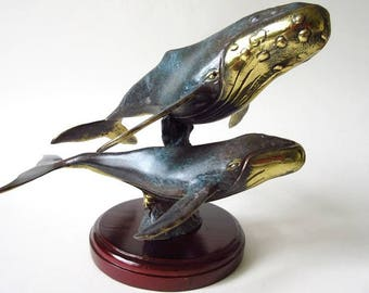 "Brass Humpback Whale Sculpture, Double Figurine, Verdigris Patina Finish, Large 9"" x 8"" x 7 1/2"""
