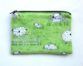 Cute Sheep and Chicks Fabric Coin Purse/Zipper Pouch/Gift Card Envelope Bag
