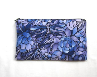 Stain Glass Dragonfly Fabric Zipper Pouch / Pencil Case / Make Up Bag / Gadget Sack