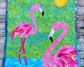 Flamingo Batik Crib Quilt