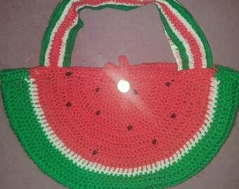 Summer watermelon crochet handbag bag purse fruit sun