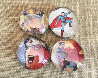 Wonder Woman Superman Comic Magnet Set, Superhero Magnets, Glass Bubble Magnets