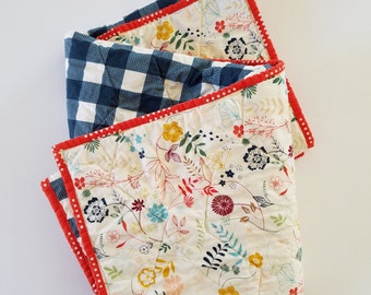 Flowers and blue plaid whole cloth quilt, modern baby crib quilt