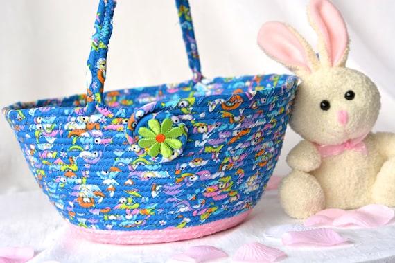 Blue Easter Basket, Flower Girl Basket, Handmade Artisan Easter Basket, Blue and Pink Wedding Basket, Blue and Pink Easter Bucket