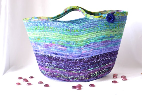 Purple Moses Basket, Handmade Batik Fiber Basket,  Lovely Jade and Violet Batik Tote, Hostess Gift Basket, Gorgeous Batik Picnic Basket