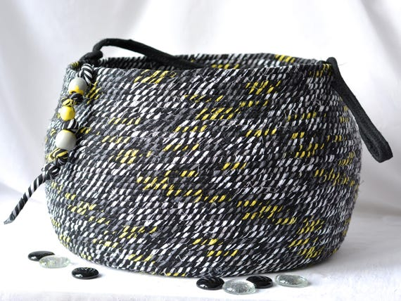 Modern Black Basket, Handmade Coiled Fabric Basket, Unique Knitting Basket, Lovely Tote Bag, Beautiful Decorative Basket, Gift Basket