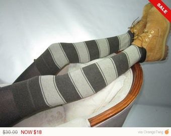 Sale -  Thigh Highs Boot Socks Striped Leg Warmers Brown Tan Stripe Knit A954