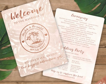 Wedding Programs  - Rose Gold and Blush Watercolor Tropical Beach Destination Wedding Passport Design