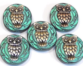 Five 2 Hole Slider Beads Aged Copper Turquoise Patina Silver Brass Copper Mixed Metal Owl Beads Bird Beads Nature Beads Bird Of Prey Beads