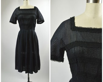 Vintage 1950s Black Cotton Dress Size Medium L'Aiglon Dress with PinTuck Pleating Lace Trim Pleated Skirt