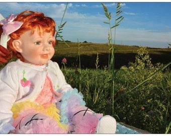"Dolls Postcard, Porcelain Doll Postcard, Postcard with Doll, Postcards with Dols, Dolls Collection, Doll Collector, Girls Room  Decor 6""x4"""