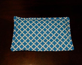 SALE, Rice Heating Pad / Ice Pack, 5 X 8 Blue Scroll