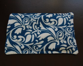 SALE, Rice Heating Pad / Ice Pack, 5 X 8 Blue Swirl