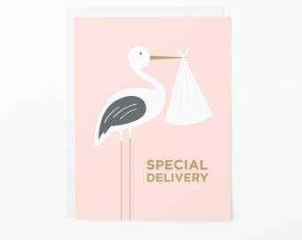 New Baby Card | Stork Special Delivery Greeting Card | Pink + White | A2 Size