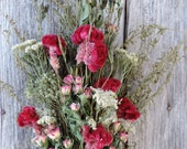 Dried Flower Bouquet Floral Flower Arrangement Cocks Comb Dark Pink with Tiny Rose Spray in Pink White Blend Meadow Grasses Yarrow