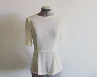 Boat neck silk wedding top with sleeves-made to order