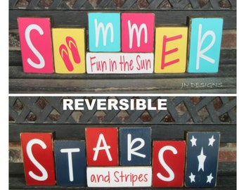 Reversible Summer & 4th of July blocks- Summer fun in the sun reverses with Stars and Stripes(bright)