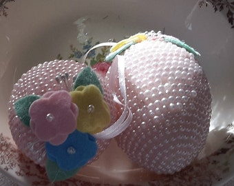 """2 PEARL egg ornaments DECORATION PINK shabby chic vintage 4"""""""