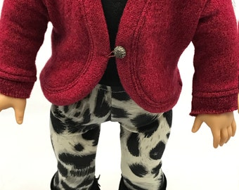 Heathered red 18 inch doll sweater