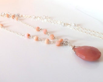 Peruvian Opal Gemstone Wire Wrapped with Sterling Silver Handmade Necklace