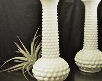 Hobnail Bud Vase   Milk Glass Bud Vase   Eo Brody   White Wedding Decor   Garden Party Decor   White Bud Vase
