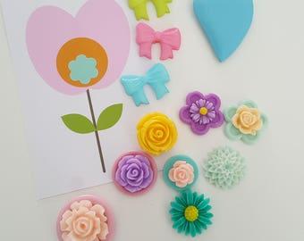 12 Bloemen magneetjes vintage pastel