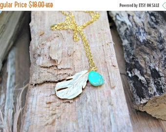 Spring Clean Sale Golden Feather Necklace