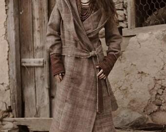 Himalayan handwoven Wool Coat with Hoodie