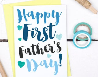 Happy First Father's Day Card - First Father's Day Card for Dad - Birthday Card For New Dad - New Dad Card - Card for Dad to be - New Dad