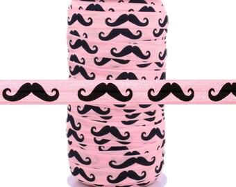 "Black Mustache on Light Pink 5/8"" Fold Over Elastic 100yd"