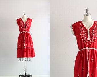 Vintage 50s Dress . Crocheted Sleeveless Dress . Red Summer Dress . Fifties Dress