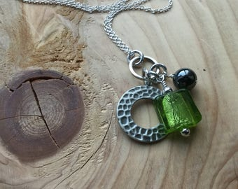 Green, Silver Necklace- Glass and Metal Necklace- Cluster Drops- ONLY 1 AVAILABLE