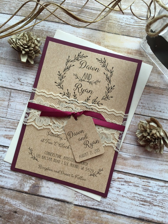 Rustic Wedding Invitation Burgundy Wedding Invitation Lace