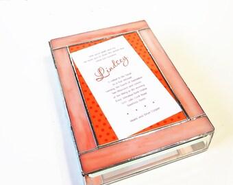 Stained Glass Keepsake Memory Gift Box Bat Mitzvah Invitation Wedding Invitation Bride Groom 50th Anniversary Custom Made-to-Order