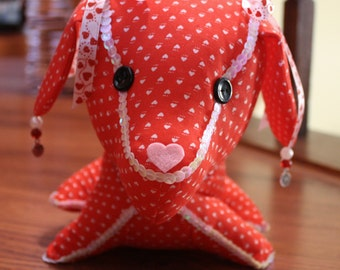 Decorative Stuffed Dog in Red Heart Cotton Fabric with Sparkly Red and White Trims
