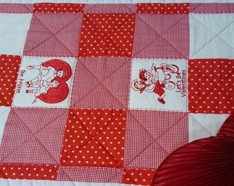 Handmade Quilted Valentine's Day Table Runner, Table Mat, Red, White and Cream Cotton Fabric with Embroidery Valentine's Messages