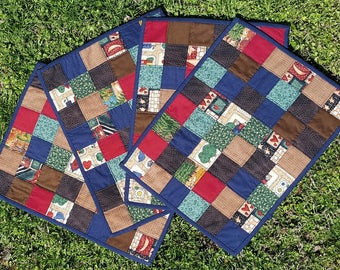 Handmade Quilted Primitive Country Patchwork Place Mats or Mini Quilts for your Home