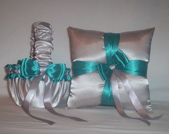 Silver Satin With Teal Ribbon Trim Flower Girl Basket And Ring Bearer Pillow Set 1