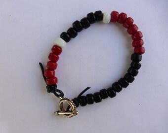 Men's BLACK, RED and WHITE Bracelet