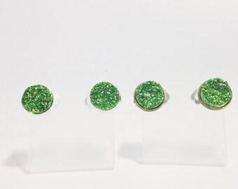 The Druzy Clip On Earrings in Green | Kelly Green Druzy Earrings | Kelly Green Clip On Earrings | Greenery Earrings | Green Clip On Earrings