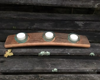 reclaimed wine barrel stave candle holder