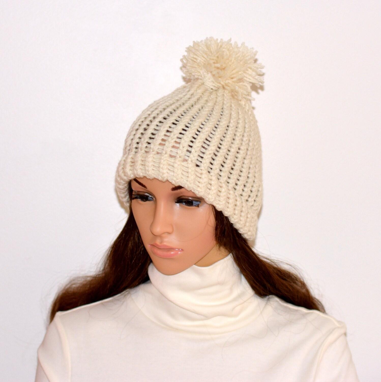 9c2c34dc9c3 White pom hat chunky pom beanie unisex white beanie womens pom jpg  1498x1500 Pom crochet hats