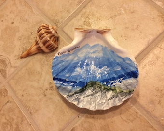 Hand Painted Seascape Shell  Beach Art Recycled