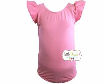 Bubble Gum PINK LEOTARD (Child) Flutter/Ruffle Sleeve Leotard