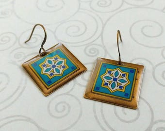 Teal Turquoise Tiles on Gold Plated Brass Earrings, Spanish, Mexican, Catalina and Mediterranean Tile Inspired