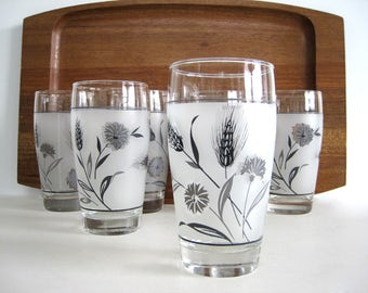 Vintage Glass Tumbler Set Frosted Gray Silver Grey Nature Wheat Grass and Flower Libbey 12 oz Mid Century MCM Metallic Spring Dining Decor