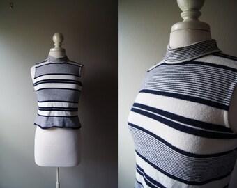 Vintage ST. JOHN Sleeveless Top Petite Blouse Short Top Petite Top Navy Stripe St. John Petite Small Sleeveless Top Sweater Knit Top St John