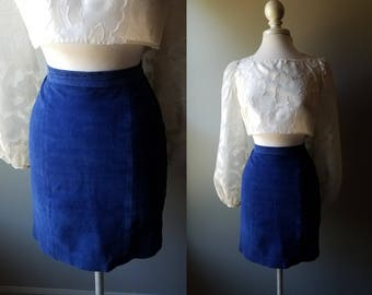 Vintage 70's Blue Leather Skirt Blue Suede Skirt Leather Hippy Boho Skirt Bohemian Hippie Size 6 Small Coachella Pencil Skirt Mod Twiggy