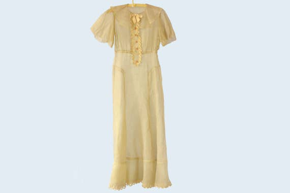1930s Sheer Yellow Organza Dress size XS